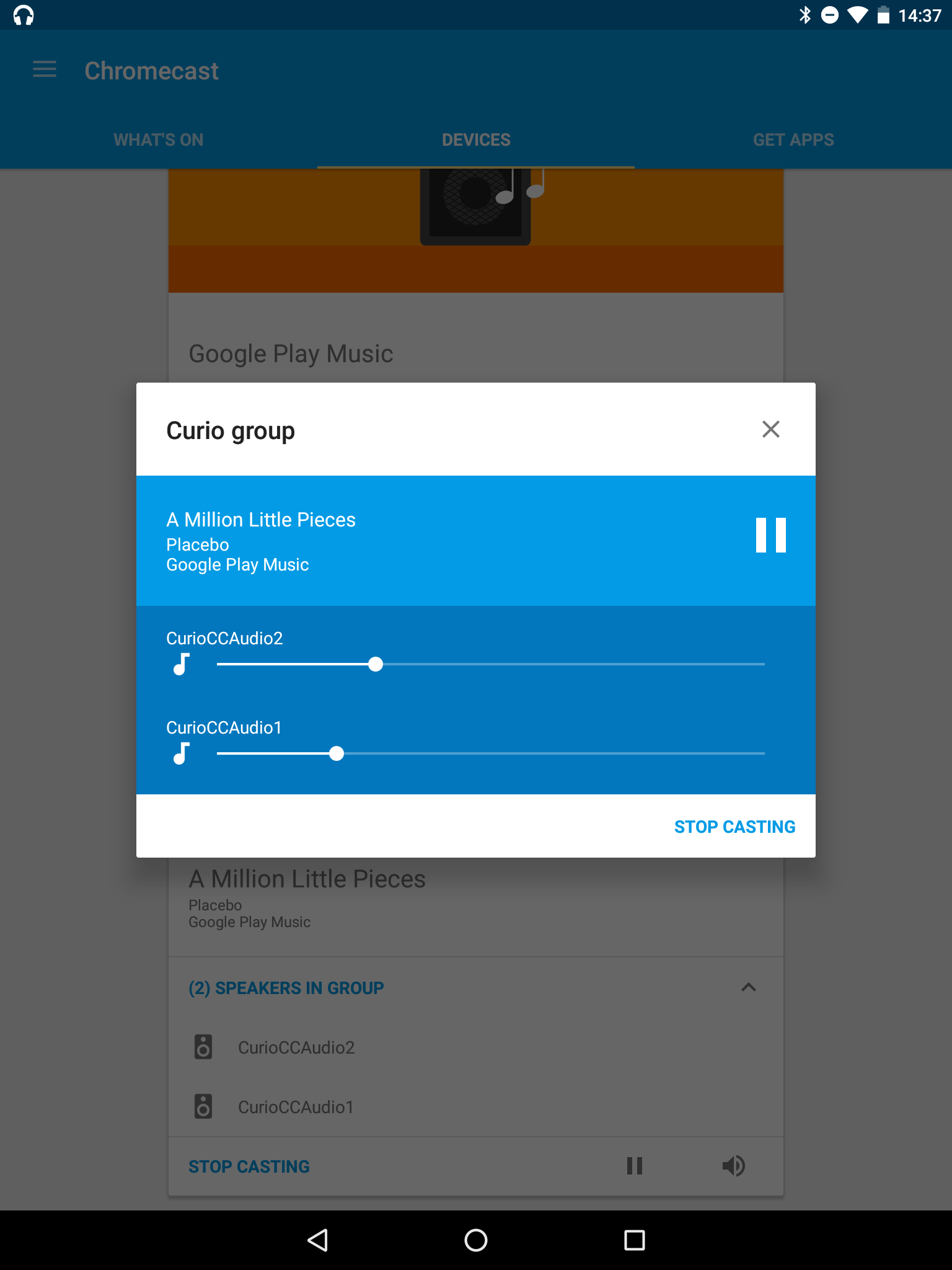 Photo: Conveniently, you can adjust the volume of each Chromecast audio in a group, which is scaled when adjusting it. In my experience however, the volume wasn't matched anymore after adjusting the general volume.