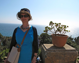 Photo: Mary Nolan wearing one of her prized milinary creations in the gardens at Rayol Canadel