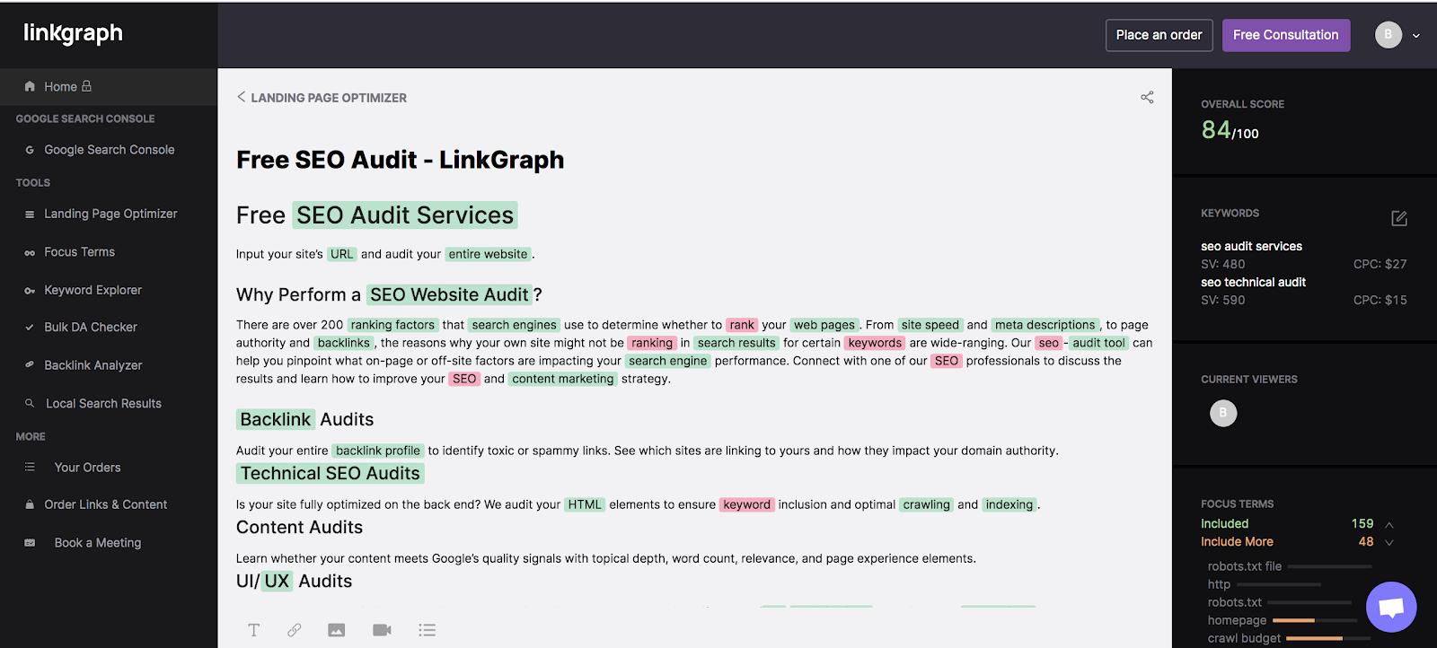 LinkGraph SEO Content Assistant