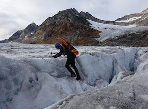 David negotiating a crevasse