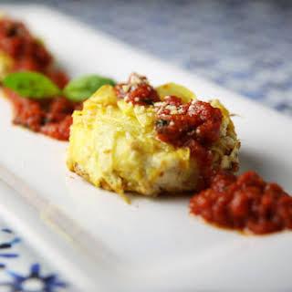 Yellow Squash Tortino with Ricotta and Tomato Sauce.