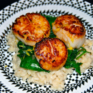Seared Scallops with Wilted Spinach and Lemon Risotto