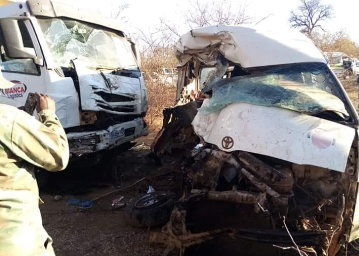 The aftermath of the deadly crash between a taxi and truck in Giyani on the pothole-ridden D3840.