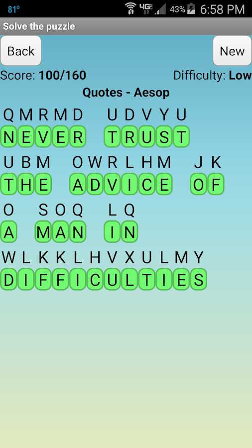 Cryptogram Puzzles- screenshot