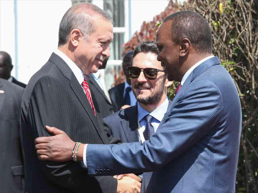 President Uhuru Kenyatta with Turkish President Recep Tayyip Erdogan at State House, Nairobi.