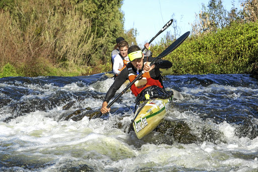 Hungarian paddling star Adrian Boros sets the pace on his way to winning the first stage of the Berg on Wednesday. Picture: GMAEPLANE MEDIA