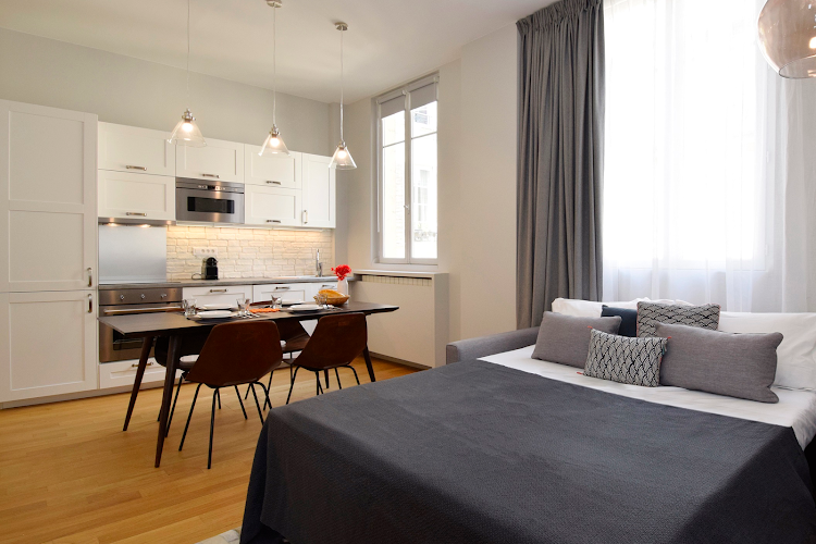 living space at 2 bedroom Apartment in Montorgueil