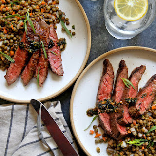 Skirt Steak With Lentil Salad