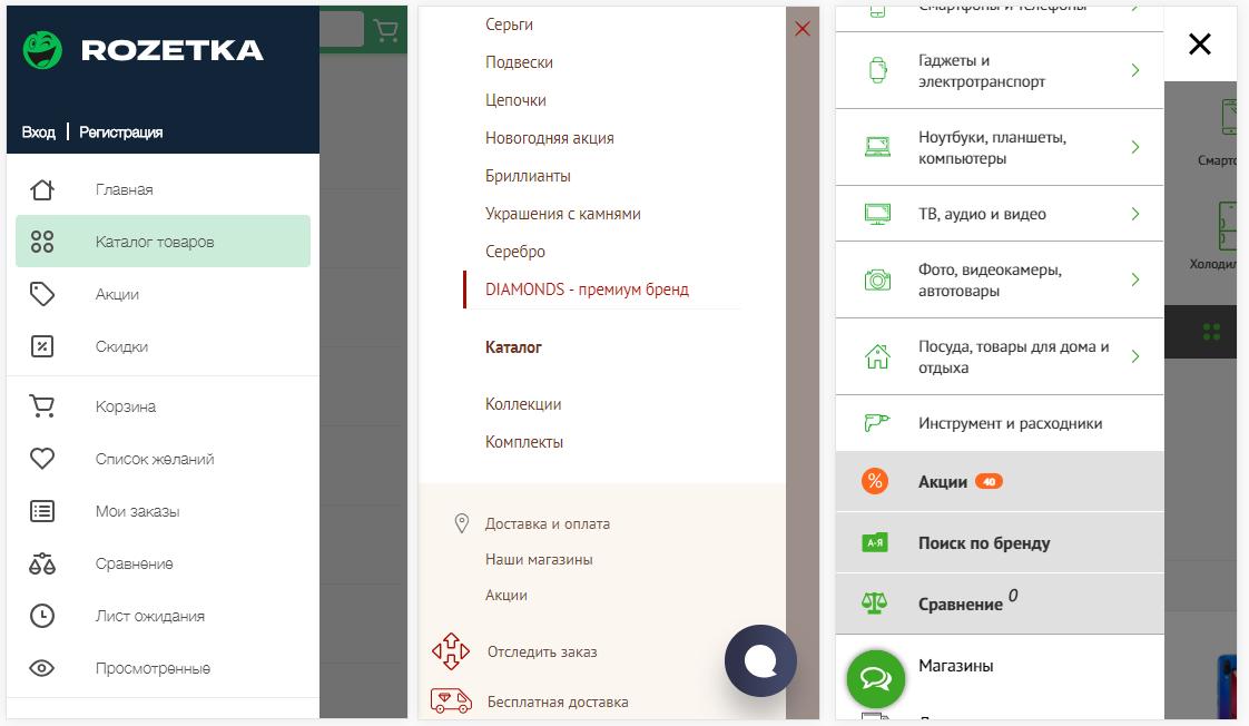 Примеры меню украинских сайтов