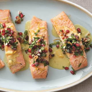 Roasted Ginger Salmon With Pomegranate Olive Mint Salsa.
