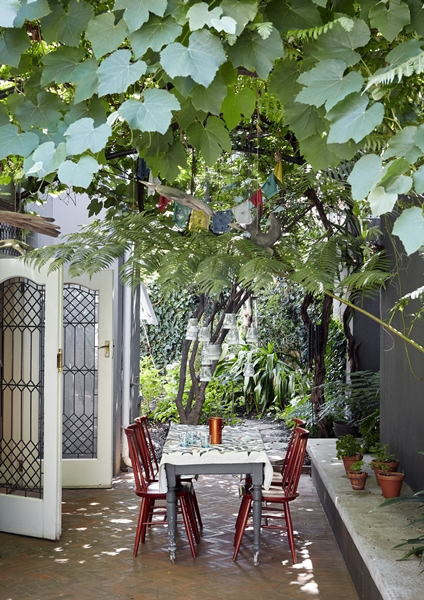 The back courtyard is a leafy haven.