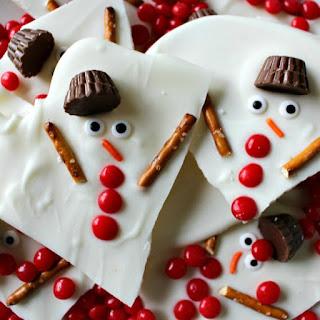 Melted Snowman Chocolate Bark.