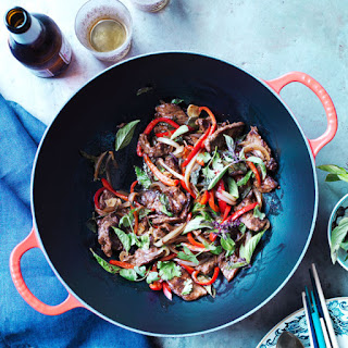 Stir-Fried Beef with Bell Peppers and Basil