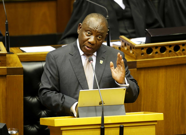 President Cyril Ramaphosa delivers his State of the Nation Address in Parliament in Cape Town on February 7 2019.