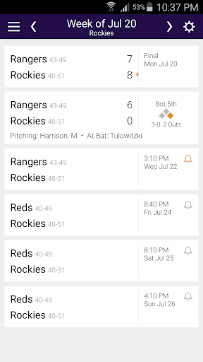 Baseball Schedule for Rockies