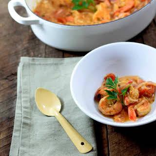 Tomato And Tiger Shrimp Soup.