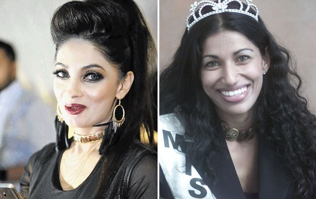 Sorisha Naidoo, left to right, in 2016 and 2001. Naidoo is a skin-lightening cream businesswoman. Picture: SUNDAY TIMES