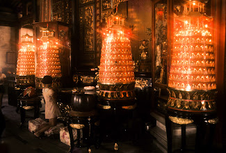 Photo: Buddhist temple electric lamps. In the real old days they were butter and oil lamps.