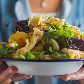 Pasta Salad with Walnut Pesto, Tomatoes and Snap Peas Recipe