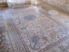 Photo: Mosaic in Madaba--only discovered in the 1930s because someone had unknowingly built a house on top of it.