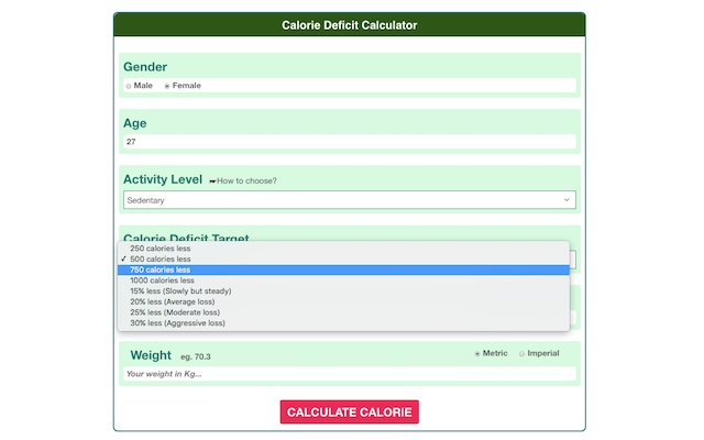 Upfit Calorie Deficit Calculator