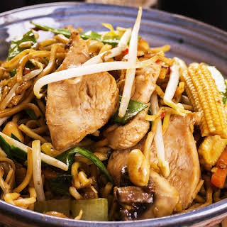 Chicken And Vegetable Noodle Stir-Fry.