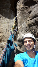 Photo: The heat was suddenly turned on when Sunny Jamshedji got to the P3 belay station which was two huge chockstones lodged in the gash. Lots of dust, moss and the occasional feather on the lip!