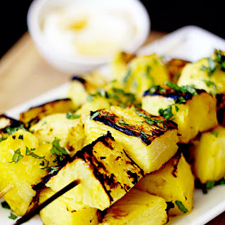 Grilled Pineapple Kabobs with Honey Yogurt Sauce.