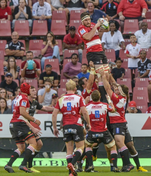Lourens Erasmus of the Lions with possession during the Super Rugby match between Emirates Lions and Cell C Sharks at Emirates Airline Park on February 17, 2018 in Johannesburg.