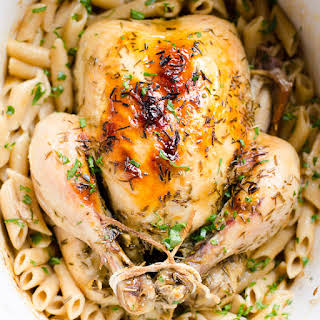 Slow Cooker Whole Chicken and Pasta.