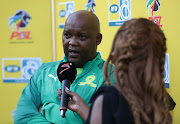 Pitso Mosimane, coach of Mamelodi Sundowns during the MTN8 2019 match between Supersport United and Mamelodi Sundowns at Lucas Moripe Stadiuml, Pretoria, on 01 September 2019.