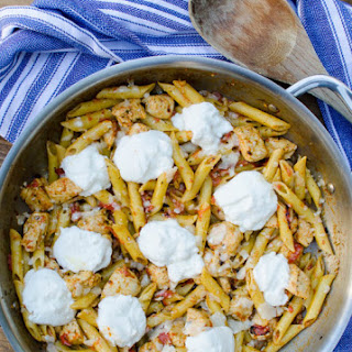 Chicken Pesto Penne with Roasted Red Peppers and Ricotta.
