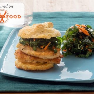 Chicken & Buttermilk Biscuit Sandwiches with Shredded Collard Green & Carrot Slaw Recipe