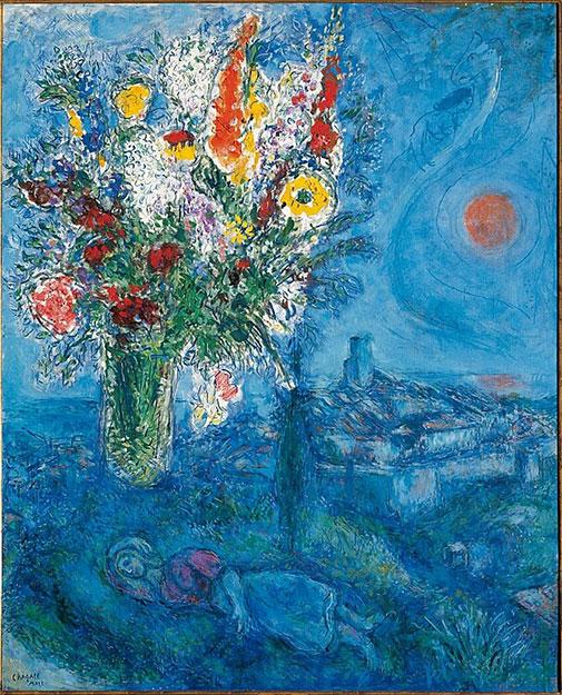 Марк Шагал. Спящая девушка с цветами.