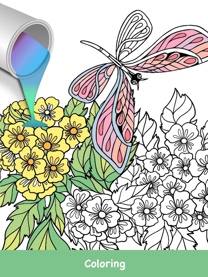 Coloring Pages Of Flowers Games : Butterflies coloring game android apps on google play