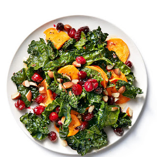 Kale With Roasted Cranberries and Sweet Potatoes.