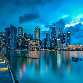 The City on Blue hour by Binoy Uthup - City,  Street & Park  Skylines ( night light, city scene, nightshot, night lights, night scene, night city, nightview, cityscape, singapore, city, nightscape, night shots, night photo, cbd, city view, night photography, city lights, nightography, night, night shoot, night shot, singapore cbd, city skyline, , city at night, street at night, park at night, nightlife, night life, nighttime in the city )
