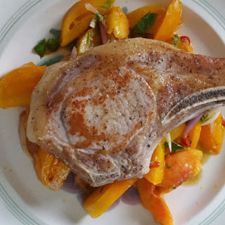 Pork Chops with Peach and Tomato Salad