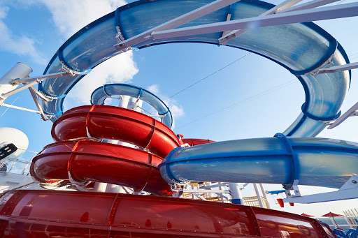 Feel like a kid again at Waterworks on Carnival Panorama. Choose Red Fun for a raft slide with lots of curves or Blue Fun for superfast straightaways.
