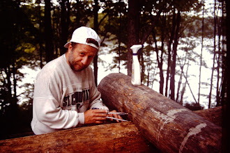 Photo: Rick scribing corner notch.