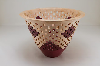 "Photo: Bob Grudberg 10"" x 7 1/2"" open segmented bowl [pecan, purple heart]"