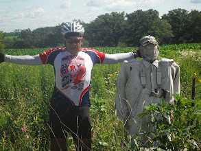Photo: Rochester MN to La Crosse WI Dale Posing with Scare crow dressed as paratrooper