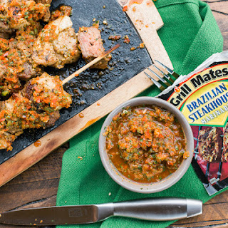 Brazilian Meat Skewers With Red Chimichurri Sauce