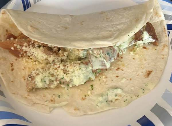 Shredded Pork Burritos W Cilantro Tomatillo Ranch