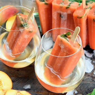 Peach And Basil Wine Ice Pops.
