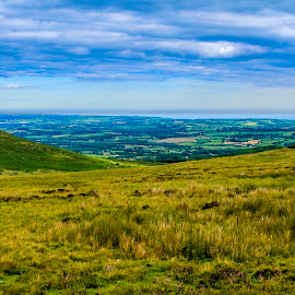 Dividing line by Raymond Fitzgerald - Landscapes Prairies, Meadows & Fields ( sky, green, clare, meadow, ireland,  )
