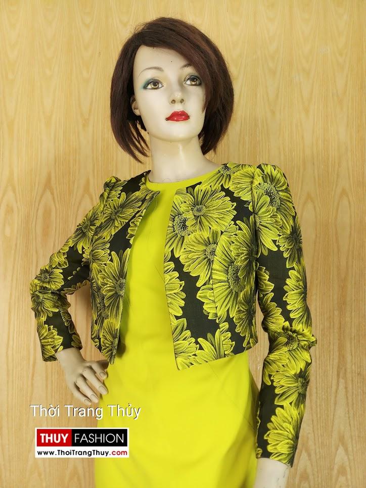 Áo khoác nữ ngang eo hoa thêu vải tafta V640 Hải Phòng