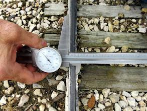 Photo: George Leventon doing track gauge measurements.  7.637     HALS Work Day 2015-0411 RPW