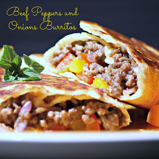 Beef Peppers and Onions Burritos #SundaySupper Recipe