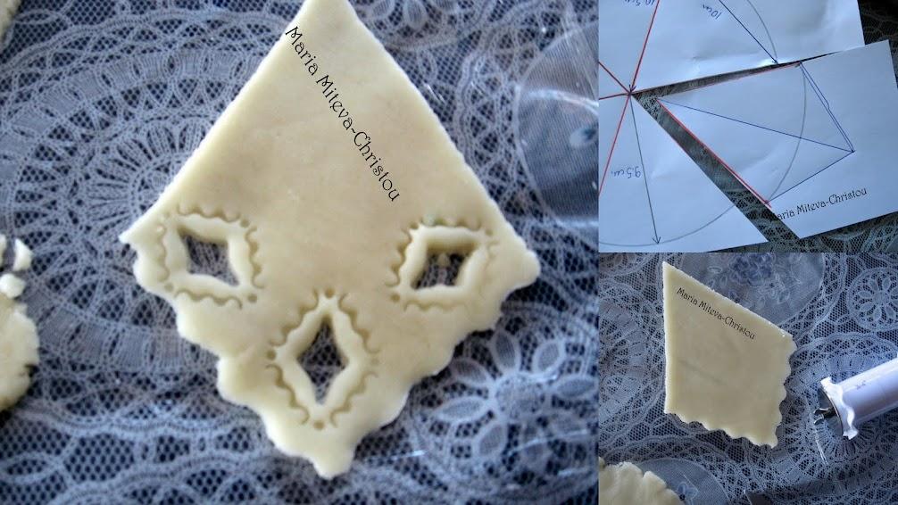 Как се прави каренце с рязана бродерия от захарно тесто